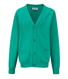 JADE CARDIGAN WITH EMBROIDERED SCHOOL LOGO